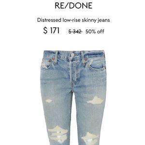 Re/done Originals Distressed Light Skinny Jeans